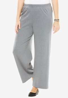 Wide-Leg Soft Knit Pant, MEDIUM HEATHER GREY