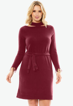 Cold Shoulder Sweater Dress by Depeche, BURGUNDY, hi-res