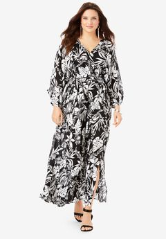 Crinkle Belted Maxi Dress, BLACK ISLAND LEAVES