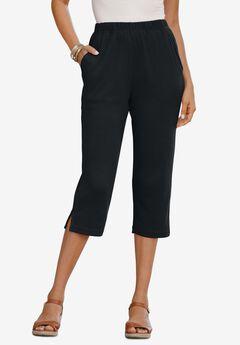 Soft Knit Capri Pant, BLACK