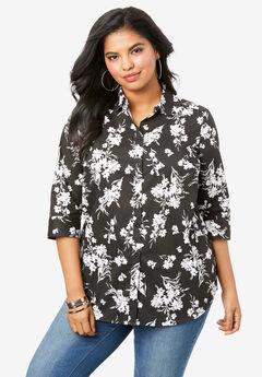Three-Quarter Sleeve Kate Shirt, BLACK FLAT FLORAL