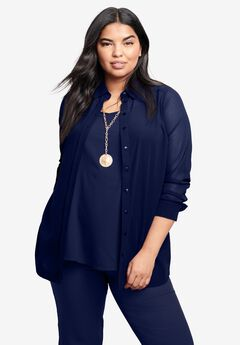 Georgette Big Shirt, NAVY