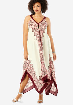 Scarf-Print Maxi Dress with Handkerchief Hem, IVORY GEOMETRIC PRINT