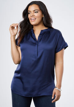 Satin Cap-Sleeve Shirt,
