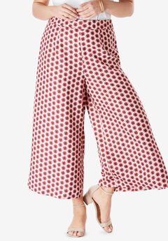 Wide-Leg Culotte Pant with High Side Slits, BLUSH GEO