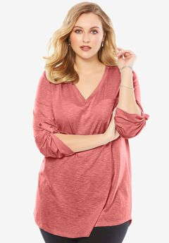 Lightweight Textured Slub Knit Boyfriend Tunic, STRAWBERRY ROSE, hi-res