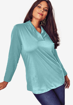 Shawl Collar Ultimate Tee, AQUA SEA, hi-res
