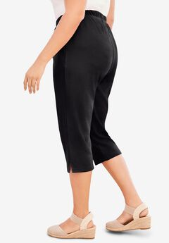 Soft Knit Capri Pant, BLACK