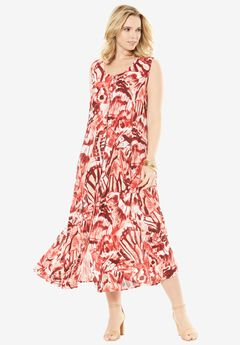 Button-Front Everywhere Crinkle Dress, RED BUTTERFLY PRINT, hi-res