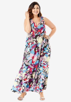 A-Line Maxi Dress in Crinkle, MULTI ABSTRACT FLORAL