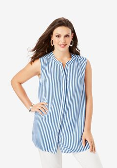 Sleeveless Georgette Blouse with Side Slits, HORIZON BLUE STRIPE