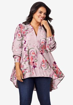 Fit-and-Flare Crinkle Tunic, BLUSH ABSTRACT FLORAL