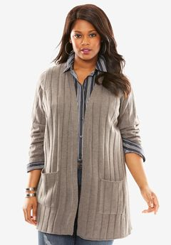 Rib Open-Front Cardigan, MEDIUM HEATHER GREY, hi-res