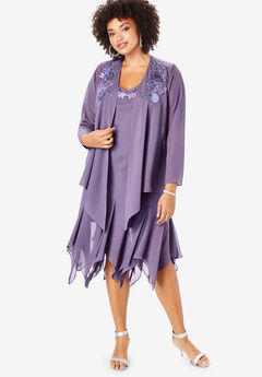 Beaded Jacket Dress Set, SWEET GRAPE