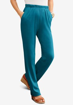 Straight-Leg Soft Knit Pant, DEEP TEAL