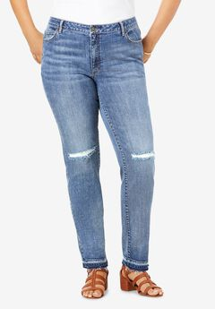 Distressed Straight-Leg Jean by Denim 24/7®,