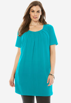Pleat Neck Maxi Tunic, VIBRANT TURQ, hi-res
