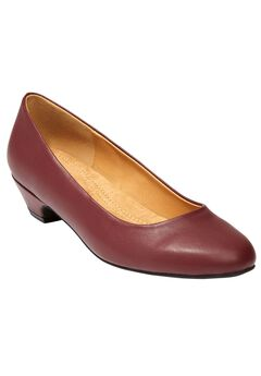 Haley Leather Pump with Folded Edge by Comfortview, BURGUNDY, hi-res