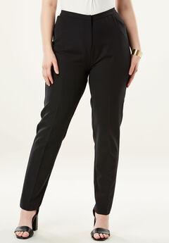 Dressy Tapered-Leg Trouser, BLACK