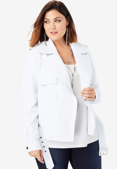 Classic Moto Jacket, WHITE