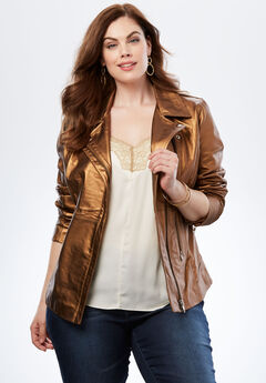 Leather Motorcycle Jacket, BRONZE, hi-res