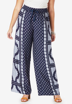 Drape Wide-Leg Pant, NAVY STAMPED MEDALLION