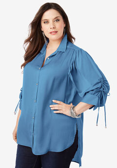The Tie-Sleeve Tunic with High-Low Hem, DUSTY INDIGO