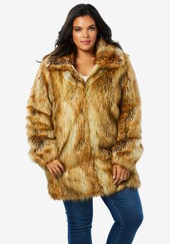 Short Faux-Fur Coat, FOX, hi-res