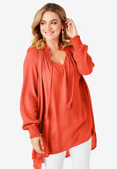 9a5d5fbb9 Smocked V-Neck Tunic with High-Low Hem