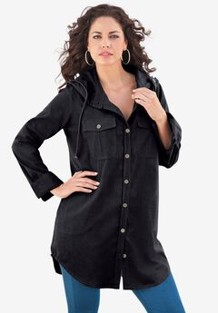 Hooded Denim Big Shirt,