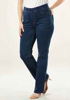 The No-Gap Slim Ankle-Length Bootcut Jean by Denim 24/7®, DARK WASH