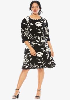 Black Floral Dress, BLACK WHITE FLORAL, hi-res