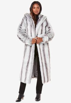 Full Length Faux-Fur Coat with Hood, CHINCHILLA