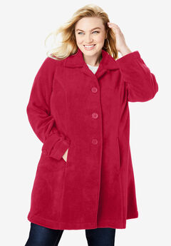 Plush Fleece Jacket, CLASSIC RED