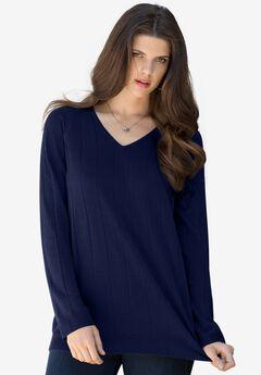 Fine Gauge V-Neck Sweater,