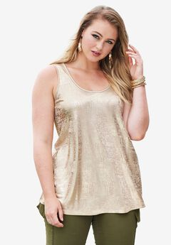 Scoopneck Metallic Tank Top,