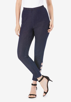 Lattice-Detailed Pull-On Stretch Jean,