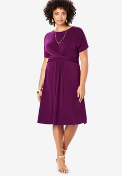 Twist Front Dress, DARK BERRY