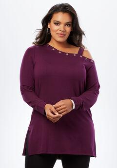 Fleece One-Shoulder Tunic,