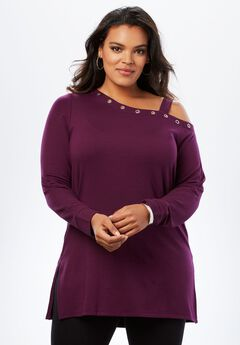 Fleece One-Shoulder Tunic,