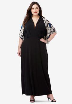 Flutter Sleeve Maxi Dress, BLACK GRAPHIC FLORAL