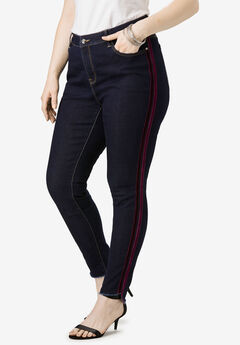 Side-Stripe Skinny Jean By Denim 24/7®, VELVET STRIPE