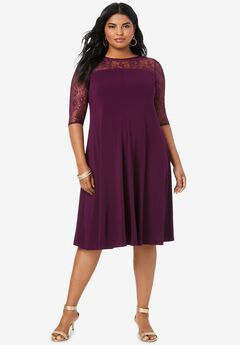 Ultrasmooth® Illusion Lace Swing Dress, DARK BERRY