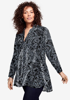 Fit-and-Flare Crinkle Tunic, BLACK FLORAL PAISLEY