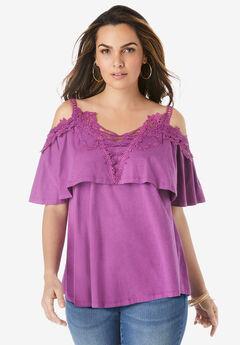 Lace-Trim Cold-Shoulder Top,