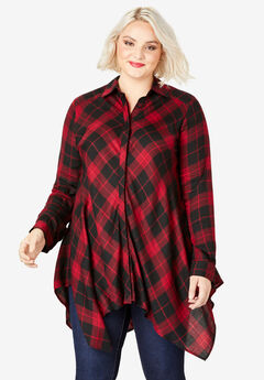 Handkerchief Hem Button-Front Tunic, BLACK RED PLAID
