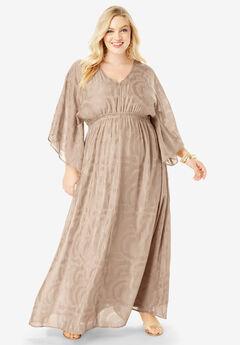 Kimono-Sleeve Maxi Dress, SPARKLING CHAMPAGNE