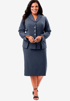 Two-Piece Skirt Suit with Shawl-Collar Jacket, NAVY