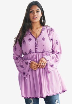 Embroidered Crinkle Tunic with Bell Sleeves, PRETTY ORCHID COMBO, hi-res