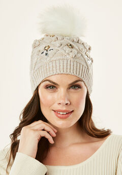Cable Knit Pom Pom Hat,